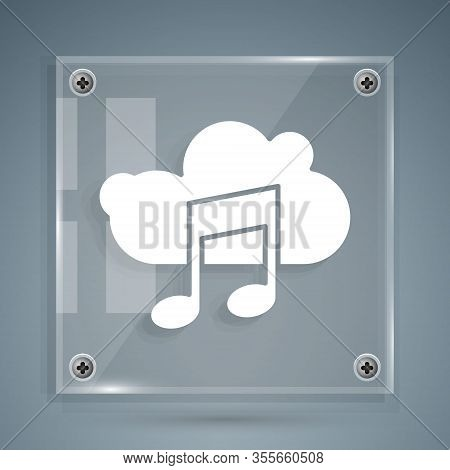 White Music Streaming Service Icon Isolated On Grey Background. Sound Cloud Computing, Online Media