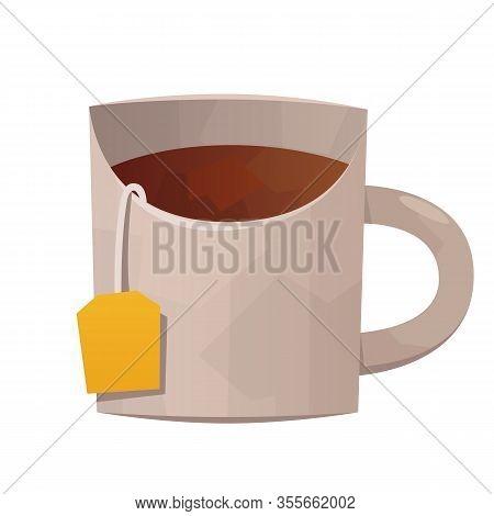 Vector White Tea Mug Isolated On White Background