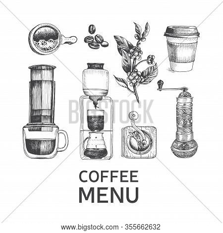 Illustration With An Alternative Way Of Brewing Coffee. Alternative Coffee Brewing Methods Sketch.