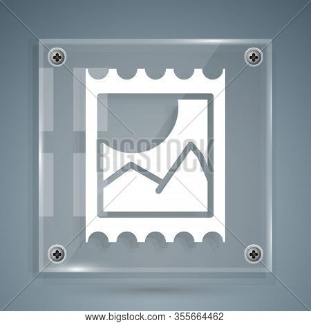White Lsd Acid Mark Icon Isolated On Grey Background. Acid Narcotic. Postmark. Postage Stamp. Health