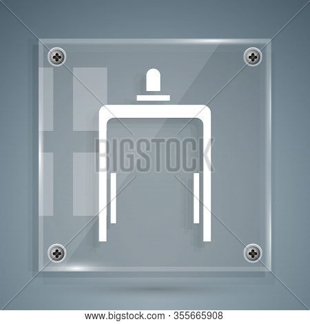 White Metal Detector In Airport Icon Isolated On Grey Background. Airport Security Guard On Metal De