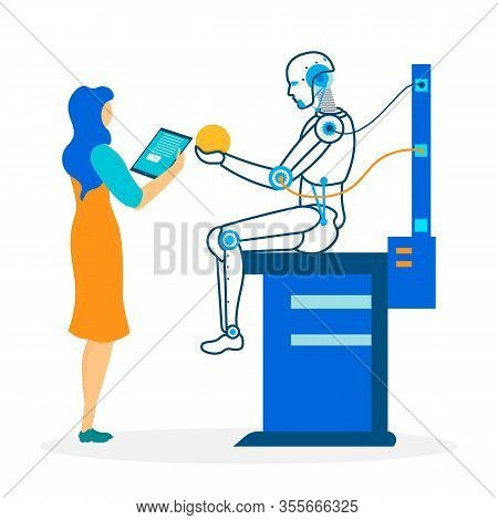 Banner With Developer And Robot With Ai. Woman Researcher Controls, Encodes, Programs Humanoid On Ta
