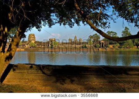 Angkor Wat Temple at sunset Siem reap Cambodia. poster