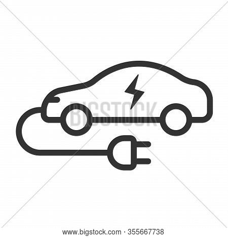 Electric Eco Car With Wire Plug Outline Vector Icon Isolated On White Background. Electric Auto Car