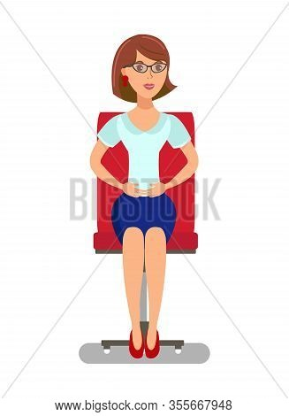 Elegant Lady Sitting In Chair Flat Illustration. Pretty Woman With Self-protective Gesture Isolated