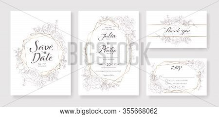 Wedding Invitation, Save The Date, Thank You, Rsvp Card Design Template. Vector. Rose, Silver Dollar