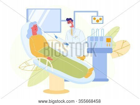 Elderly Woman Sits On Dentist Chair In White Coat. Dentist Room. Man Doctor In White Coat. Treat Tee