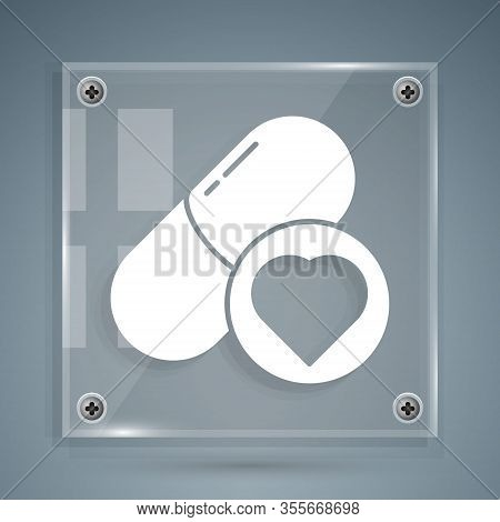 White Pills For Potency, Aphrodisiac Icon Isolated On Grey Background. Sex Pills For Men And Women.