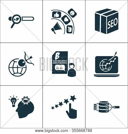 Business Icons Set With Creative Idea, Data Management, Reputation Management And Other Goal Element