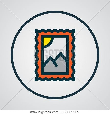 Post Stamp Icon Colored Line Symbol. Premium Quality Isolated Postmark Element In Trendy Style.