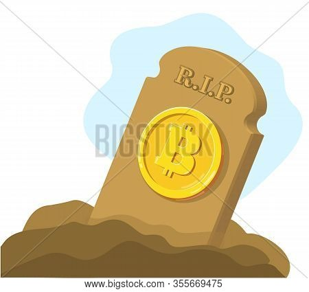 Vector Broken Bitcoin. Blockchain And Crypto Currency Crisis. Crypto Currency Devaluation. Bitcoin F