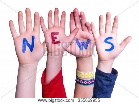 Children Hands Building Word News, Isolated Background