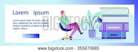 Flyer Optimization Financial Structure Company. Man Sits In An Office Chair And Ponders Books Cartoo