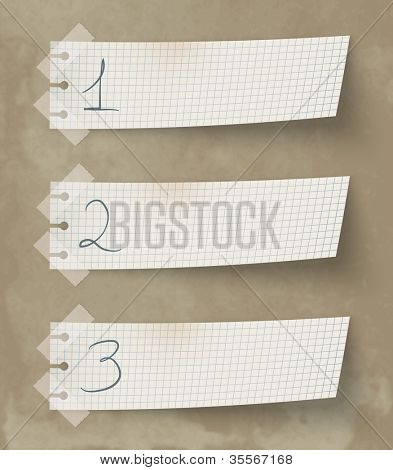 Set of three vintage labels with numbers