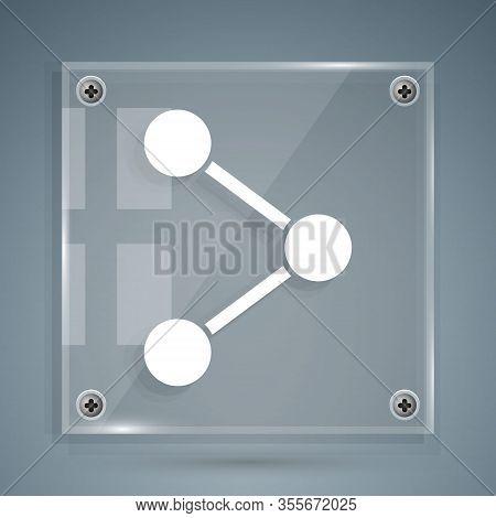 White Share Icon Isolated On Grey Background. Share, Sharing, Communication Pictogram, Social Media,