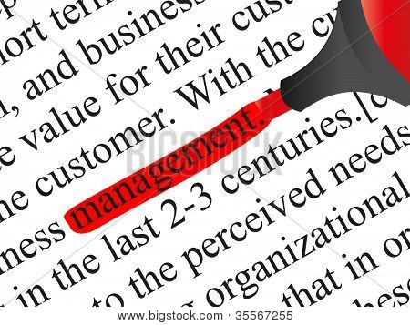 High resolution concept or conceptual abstract black text isolated on white paper background with a red marker as a metaphor for management,business ,marketing,target,highlight,solution or branding