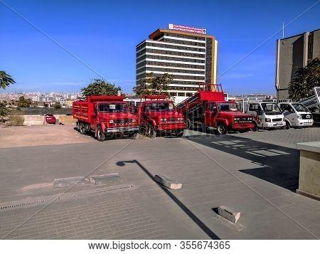 Turkey, Ankara - October 24, 2019: Three Red Fargo Fire Truck Parked On A Street In Ankara. Trucks S