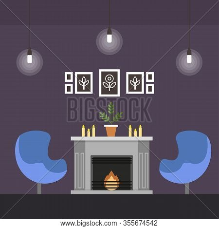 Living Room With Fireplace Coworking Cartoon Flat. For Wealthy People Who Do Not Need Office, But Pe