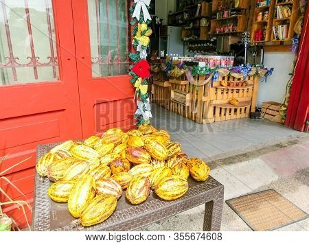 Puerto Limon, Costa Rica - December 8, 2019:the Fresh Cocoa Fruits At Port Limon In Costa Rica.