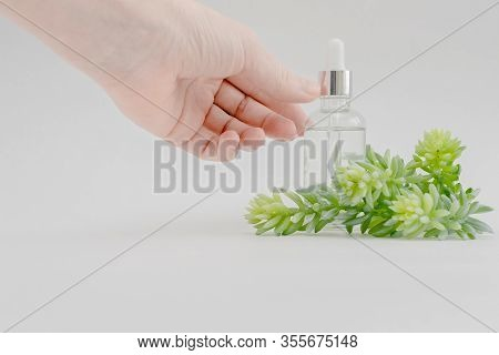 Female Hand Holding Pipet. Hyaluronic Acid Dropper Transparant Glass Bottle. Skincare And Health Con