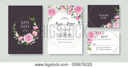 Wedding Invitation, Save The Date, Thank You, Rsvp Card Design Template. Vector. Summer Flower, Pink