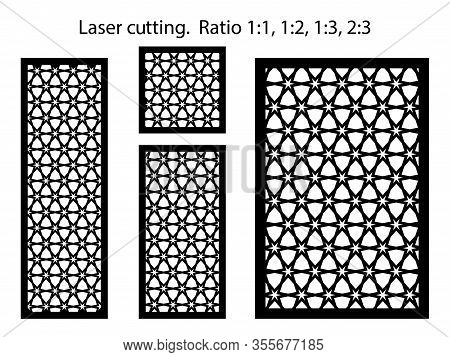 Set Of Decorative Vector Panels, Privat Fences For Lazer Cutting. Template For Interior Partition In