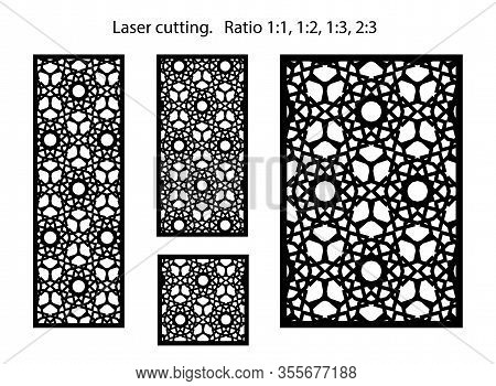 Set Of Decorative Vector Screens, Panels For Laser Cutting. Template For Interior Partition In Arabe
