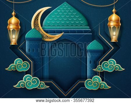 Card For Islam Holiday. Eid Al Adha Or Eid Qurban, Eid Ul Fitr Holiday Background. Paper Cut With Is