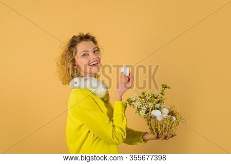 Basket With Eggs. Eggs Hunt. Easter Egg. Bunny. Happy Easter Day. Cute Furry Rabbit. Smiling Woman H