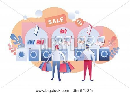 Customer In Electronics Store, Holding Paper Shopping Bags, Talking To Shop Assistant, Asking For In