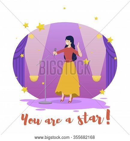 You Are Star Banner. Young Woman Singer Performing On Stage. Restaurant Entertainment With Live Musi