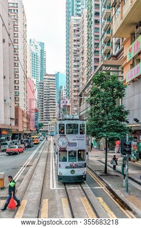 Hong Kong - January 18, 2016: Tramway Transport Is Very Popular In Hong Kong. The Only Tram Railway