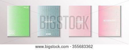 Wavy Minimal Cover Vector Set. Textured Gradient Overlay Business Folder. Cool Technology Wallpaper.