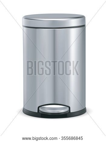 Stainless Steel Trash Can With Pedal. Vector 3d Illustration