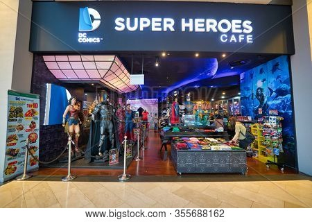 SINGAPORE - JANUARY 20, 2020: entrance to DC Comics Super Heroes Cafe at the Shoppes at Marina Bay Sands in Singapore.