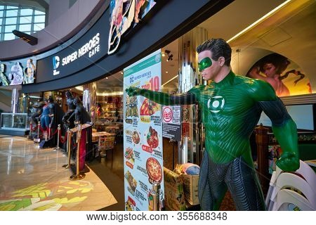 SINGAPORE - JANUARY 20, 2020: Green Lantern life size statue on display in DC Comics Super Heroes Cafe at the Shoppes at Marina Bay Sands in Singapore.