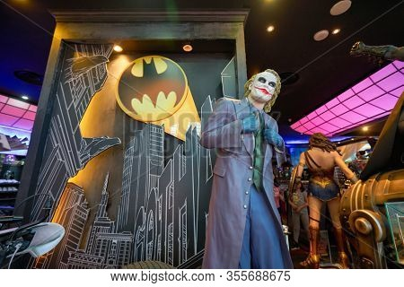 SINGAPORE - JANUARY 20, 2020: Joker life size statue on display in DC Comics Super Heroes Cafe at the Shoppes at Marina Bay Sands in Singapore.