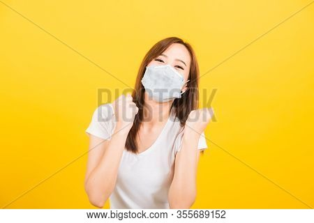 Portrait Asian Beautiful Happy Young Woman Wearing Face Mask Protects Filter Dust Pm2.5, Virus And A