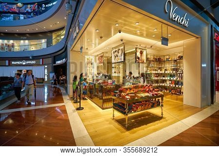 SINGAPORE - JANUARY 20, 2020: Venchi store in the Shoppes at Marina Bay Sands. Venchi is an Italian gourmet chocolate manufacturer founded by chocolatier Silvano Venchi.