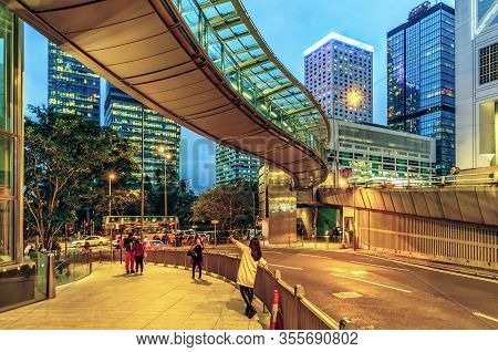 Hong Kong, China - January 25, 2016: Hong Kong Twilight Cityscape Of Modern Skyscraper Buildings On