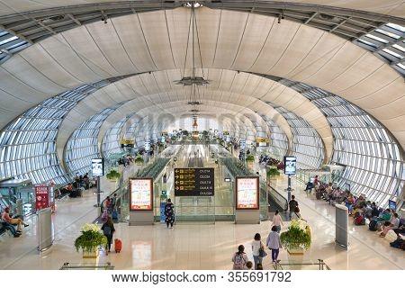 BANGKOK, THAILAND - CIRCA JANUARY, 2020: interior shot of Suvarnabhumi Airport. Suvarnabhumi Airport is one of two international airports serving Bangkok, Thailand.