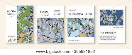 Geographic Map Fluid Paint Vector Cover. Music Poster, Trendy Magazine Template. Water Ecology Blue