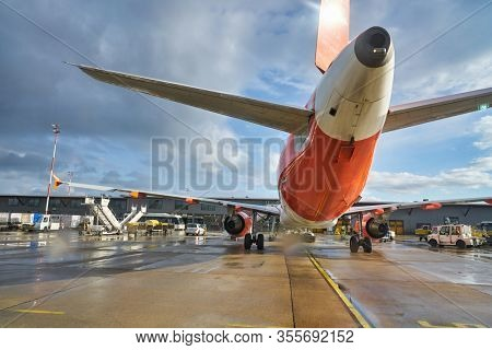 BERLIN, GERMANY - CIRCA SEPTEMBER, 2019: close up shot of easyJet Airbus A320-214 on tarmac at Berlin Tegel