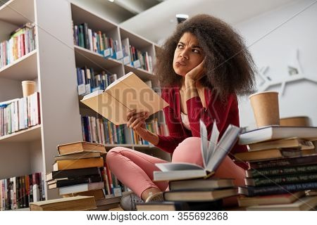 Tired University Student Has Difficulty To Study. Concept Of Stress, Question And Difficulty