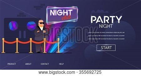 Bald Bouncer In Sunglasses Outside Night Club Entrance Vector Illustration. Cartoon Bodyguard Charac