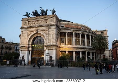 Palermo, Sicily - February 8, 2020: Teatro Politeama Garibaldi In Palermo During Early Evening Hours