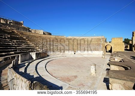 Stage And Seating Area Of The Roman Theatre, Santiponce, Italica, Seville, Seville Province, Andaluc