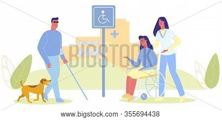 Blind Man In Glasses With Dog. Nurse With Woman In Wheelchair Vector Illustration. Disabled Parking
