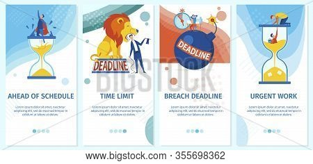 Workload Deadline And Working Time Limit. Business People And Office Workers Cartoon Characters. Bre