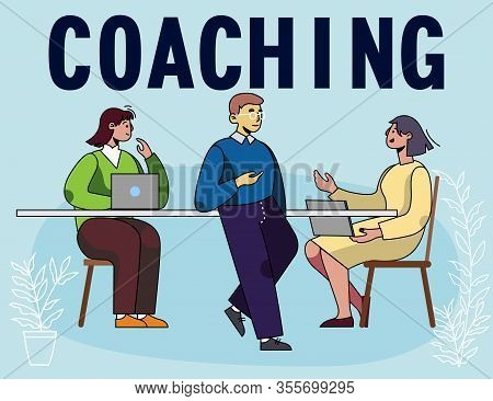 Poster Advertising Business Coaching Courses. Professional Growth Promotion. Invitation On Financial